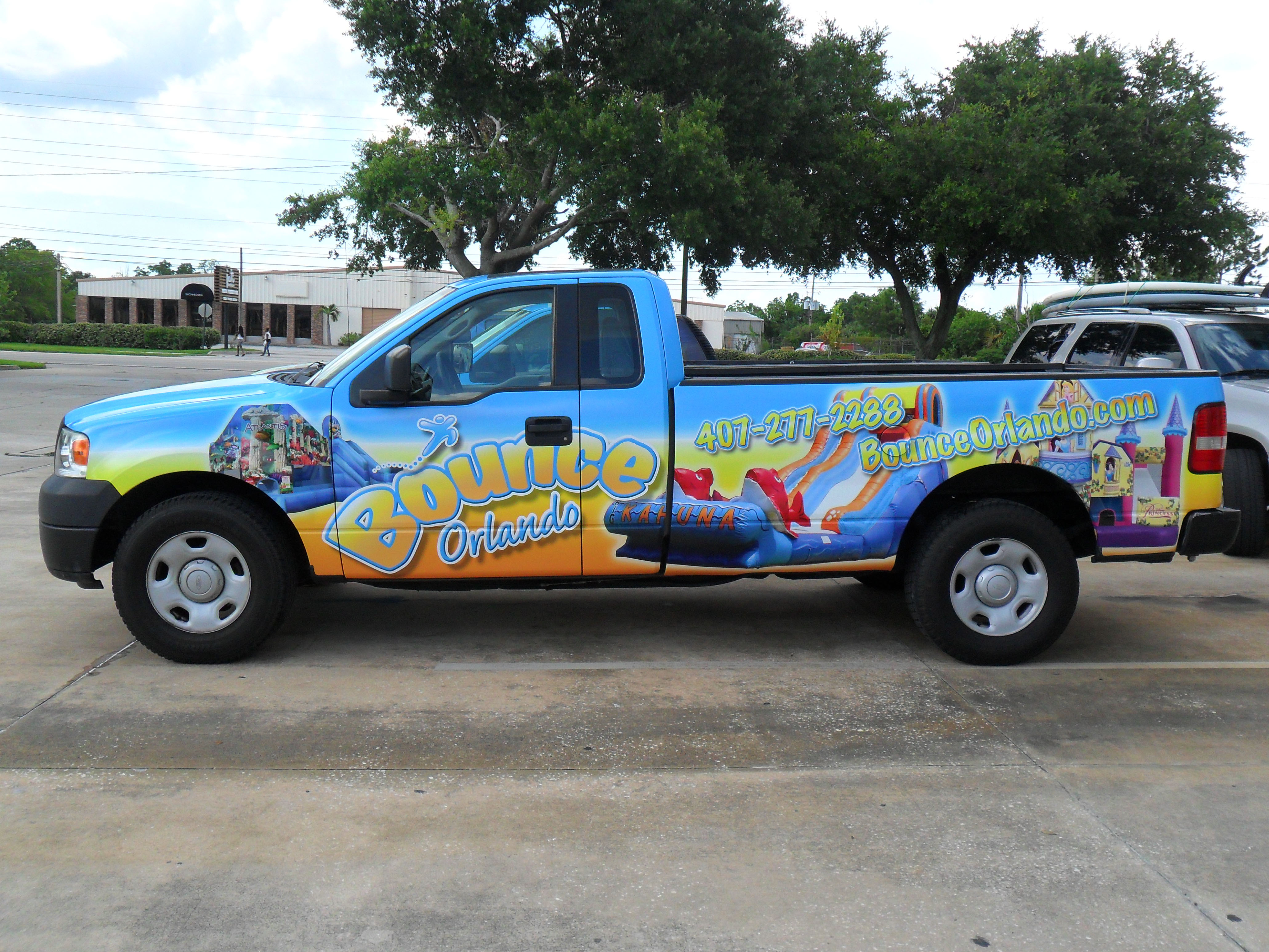 Sponsorship marketing used on truck for Bounce Orlando