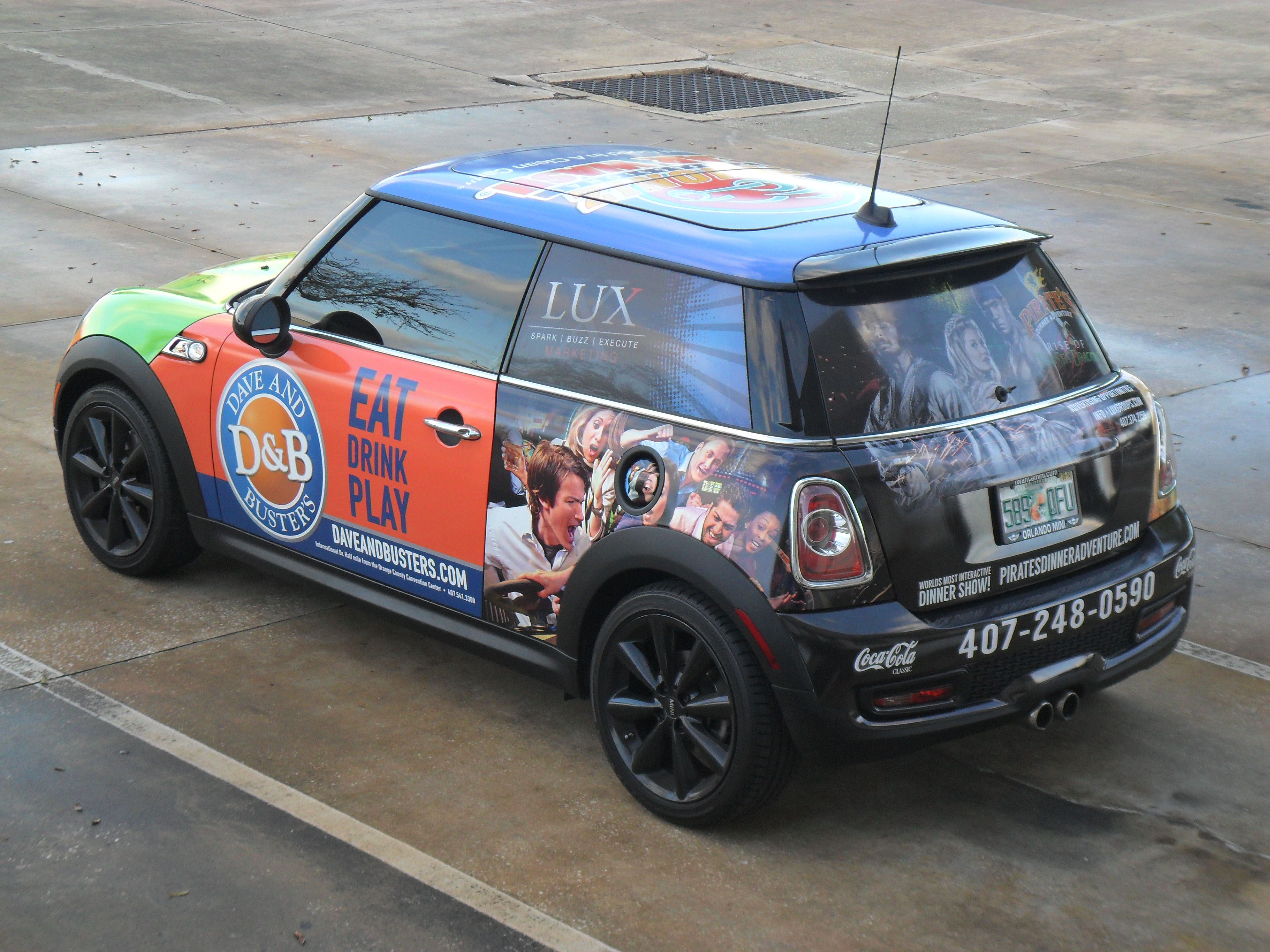 sponsorship marketing used on mini for Dave and Busters