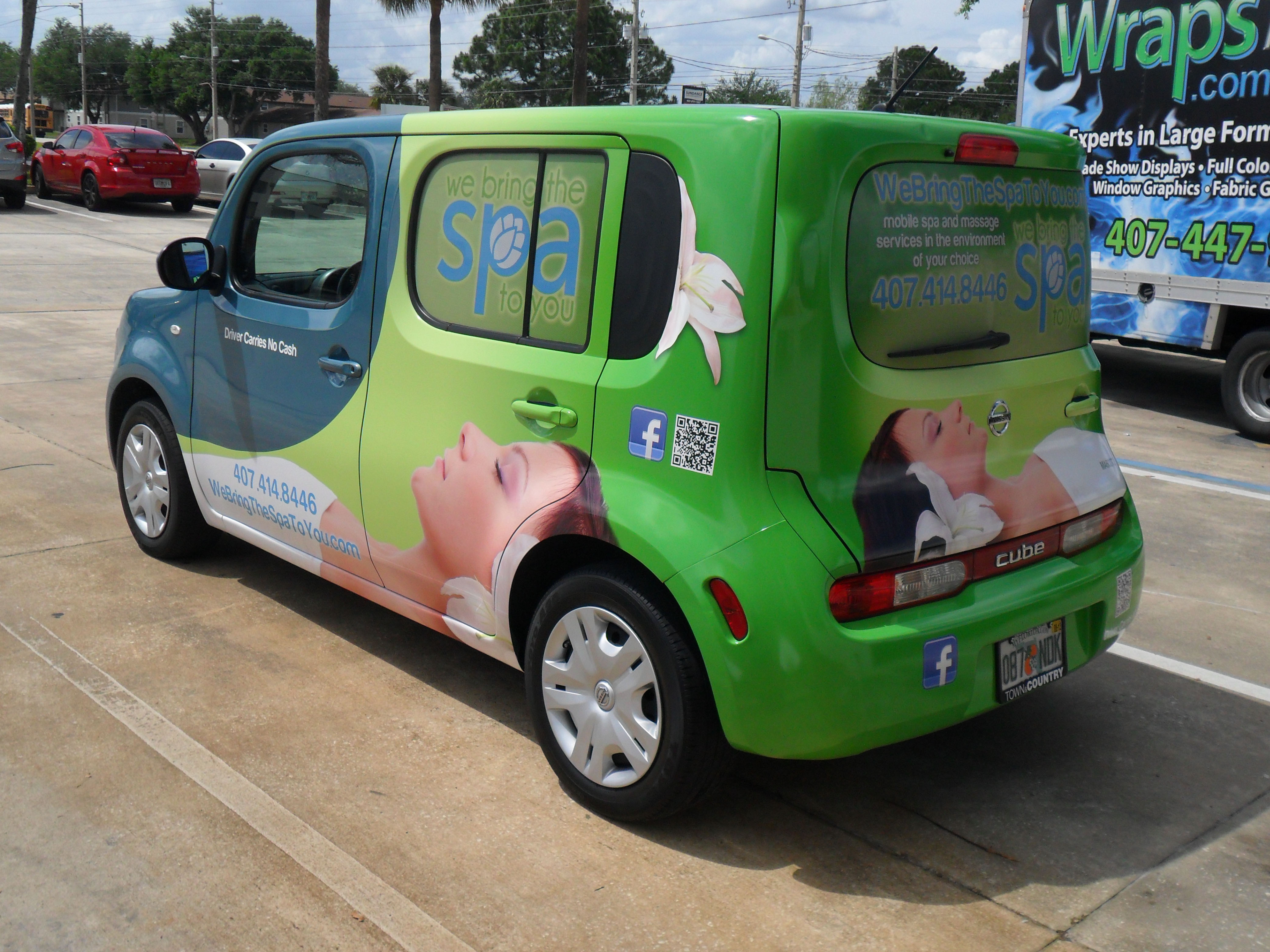 Sponsorship marketing used on cube car for we bring the spa to you